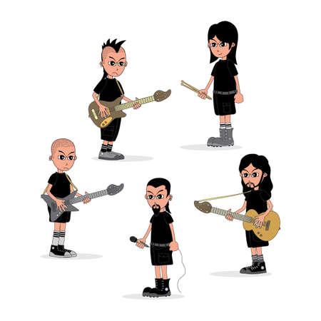 vocalist: male cartoon character music band theme vector art illustration Illustration