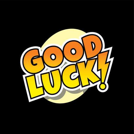 buena suerte: good luck retro comic text theme vector art illustration Vectores