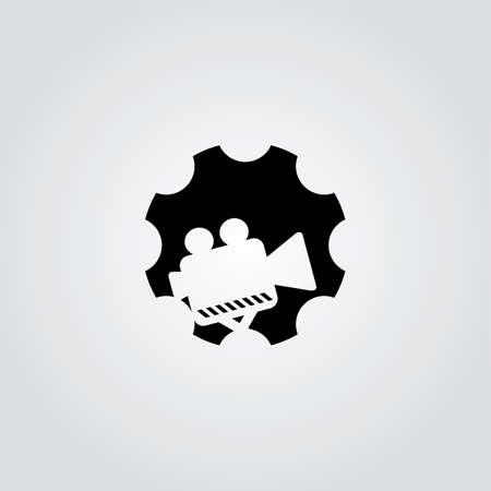corporations: cog setting service logo art theme vector illustration