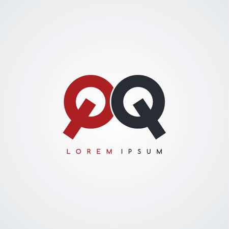 uppercase: initial letter linked uppercase logo black red in white background Illustration