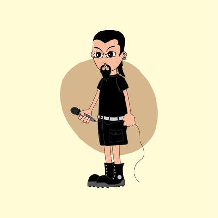 vocalist: male cartoon character singer music band theme vector art illustration Illustration