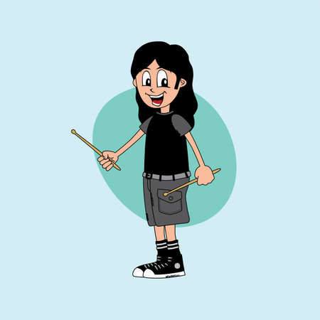 drummer: male cartoon character drummer music band theme vector art illustration Illustration