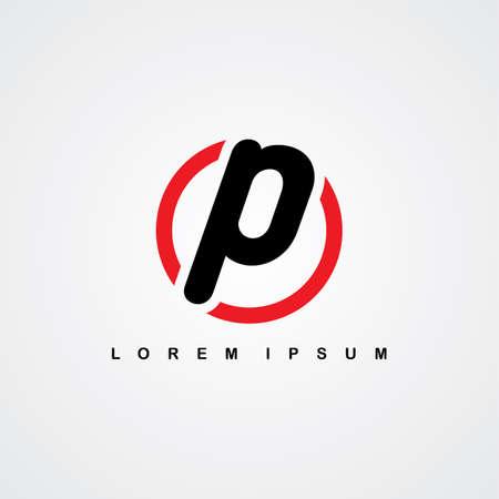 initial letter linked uppercase red black theme vector art