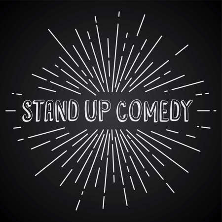 explotion: stand up comedy text show sunrays retro theme vector Illustration
