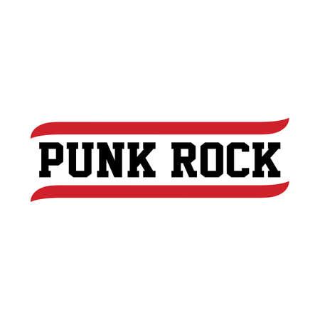 punk rock: black red text punk rock theme vector art illustration