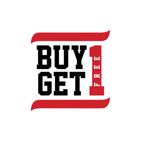get one: black red text buy one get one vector art illustration