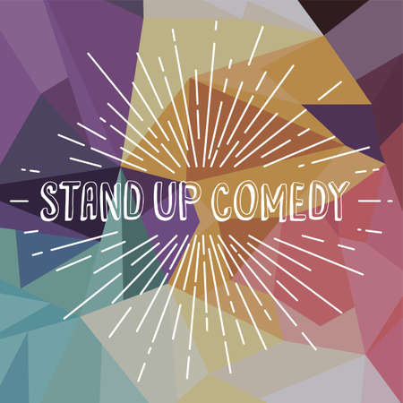 stand up comedy text show sunrays retro theme vector Illustration