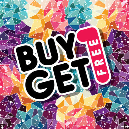 buy one: buy one get free sale promo mosaic theme vector illustration