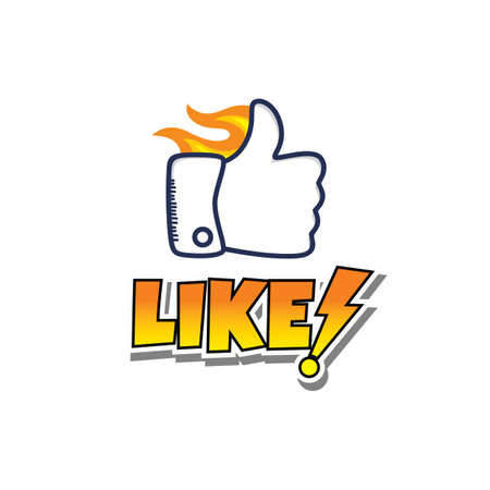 thumb up hand sign cartoon vector art illustration