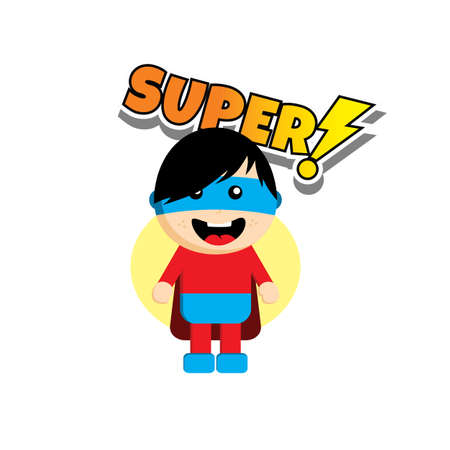slicker: Flat style superhero character avatar on ribbon label creative design template man super hero profile full face view