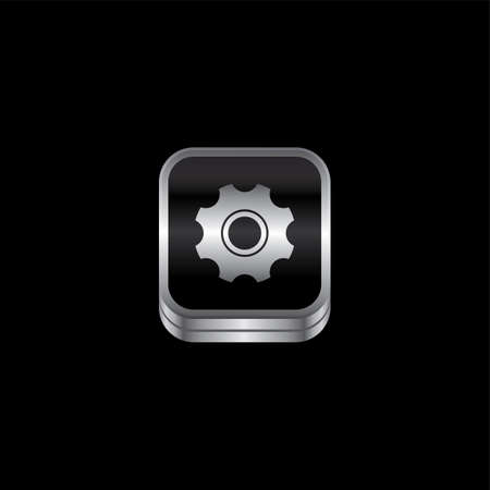 plate setting: setting cog metal plate theme icon button vector art illustration