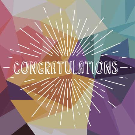acclaim: congratulations greetings sunrays retro theme vector art illustration