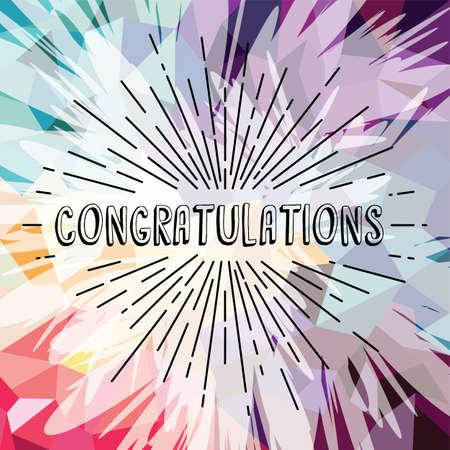 congratulations greetings sunrays retro theme vector art illustration