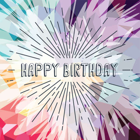 love blast: happy birthday greetings sunrays retro theme vector art Illustration