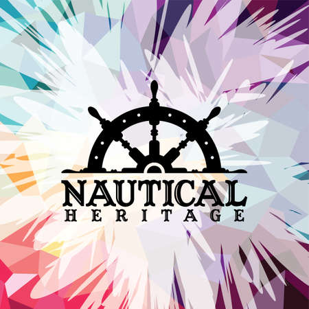 Abstract colorful anchor navy nautical theme vector illustration