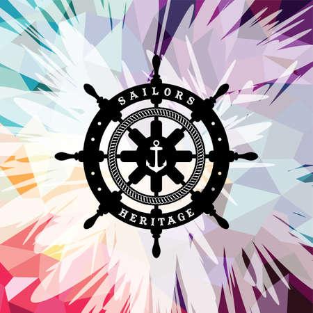 Resumen de colores de ancla marina tema náutico ilustración vectorial