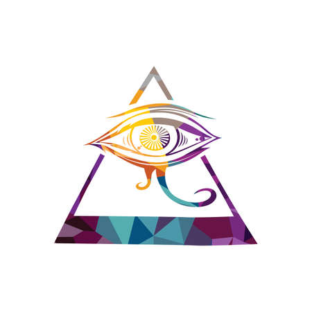 triangular eyes: Abstract eye colorful triangle geometrical vector illustration