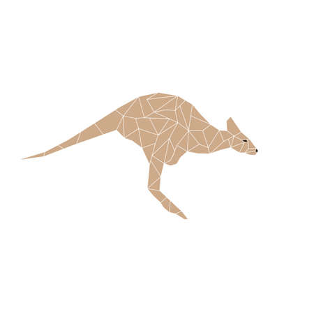 joey: Kangaroo jumping designed using colorful mosaic pattern graphic vector