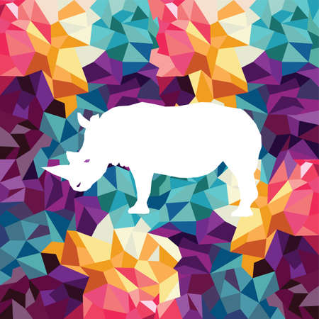sac: rhino colorful mosaic pattern designed using mosaic pattern graphic vector