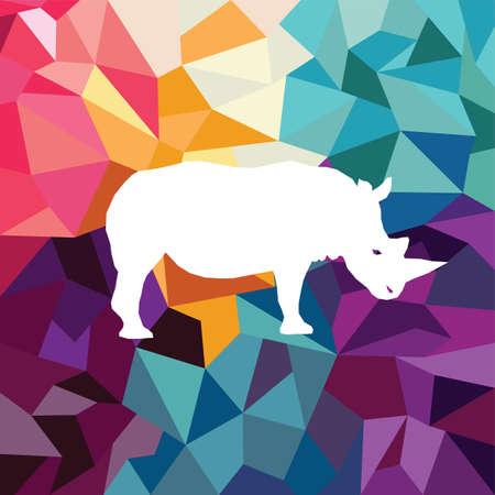 rhino colorful mosaic pattern designed using mosaic pattern graphic vector