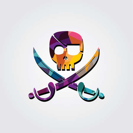 Abstract colorful triangle geometrical pirate sign vector illustration