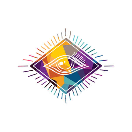 Abstract eye colorful triangle geometrical vector illustration
