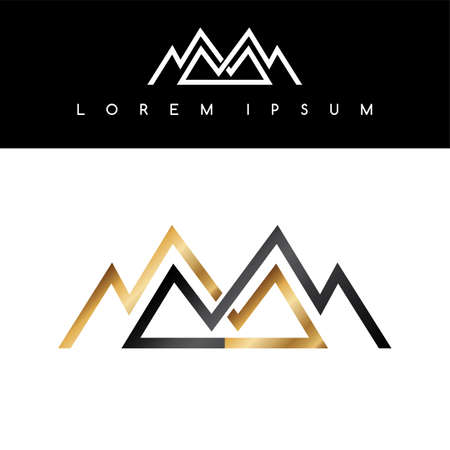 alpinism: Overlapped line mountains symbol golden monochromatic sign