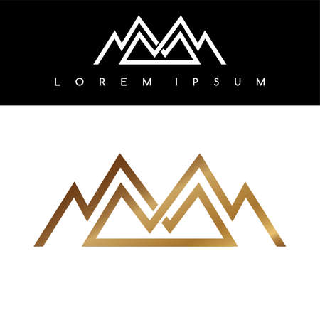 Overlapped line mountains symbol golden monochromatic sign logotypes logo