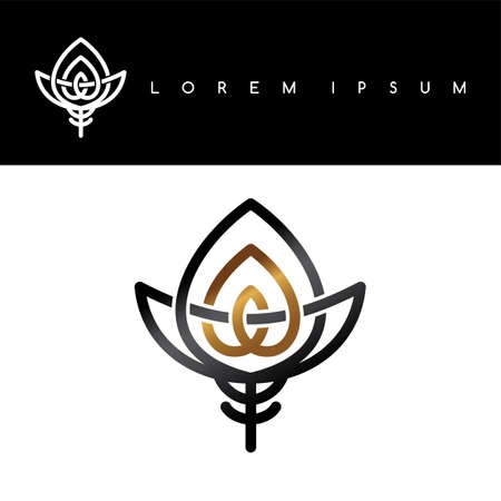 floral gold black abstract floral concept logo logotype