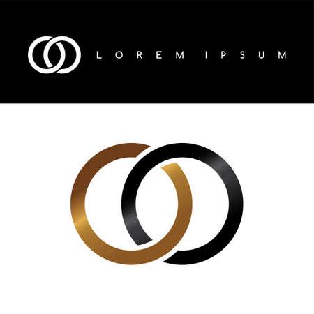 trefoil: two circle overlapped linked logo logotype black gold