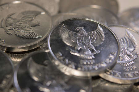 rupiah coins stack macro close up money Stock Photo