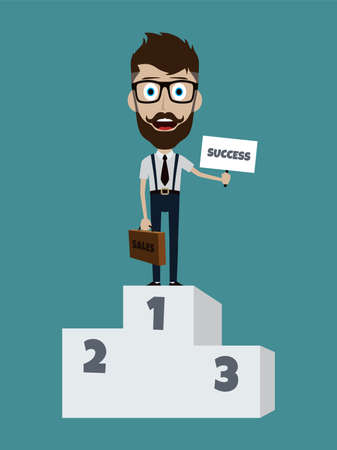 suspender: Happy success businessman on first podium with briefcase and sign Illustration