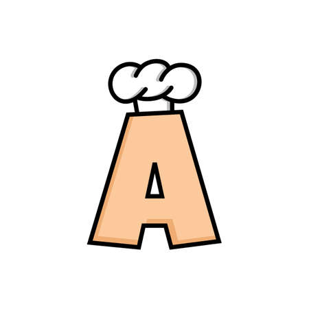 initial cap: Chef hat logo logotype theme with initial letter