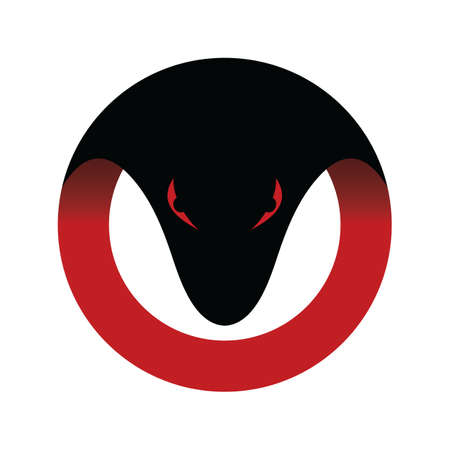 ophidian: Viper venom snake head logo logotype circle round theme Illustration