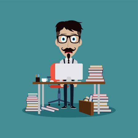 Stressful businessman working behind office desk vector art