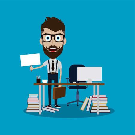 Businessman working behind office desk holding blank sign vector art Illustration