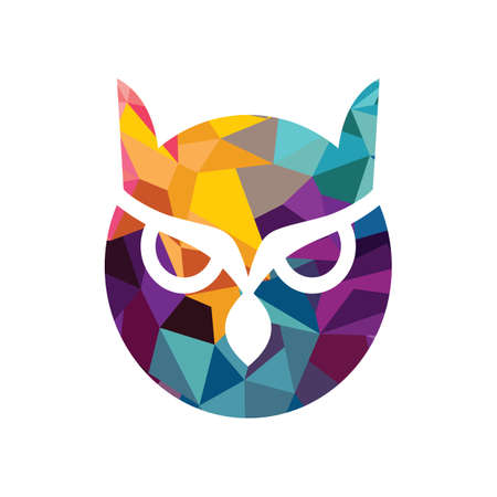 Isolated Blue And Yellow Vector Owl Logo Illustration School