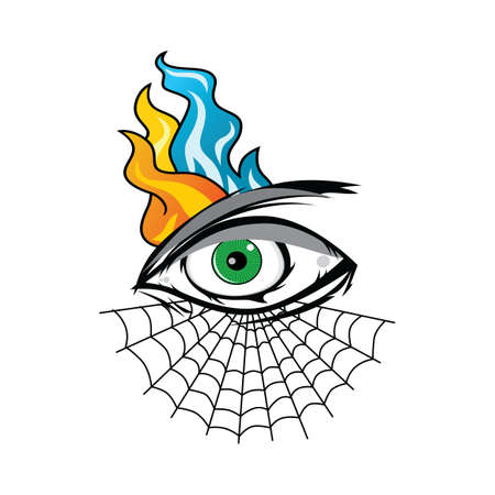 angry eye with spiderweb tattoo cartoon theme vector art illustration