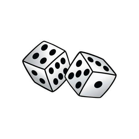 white dice risk taker gamble vector art illustration