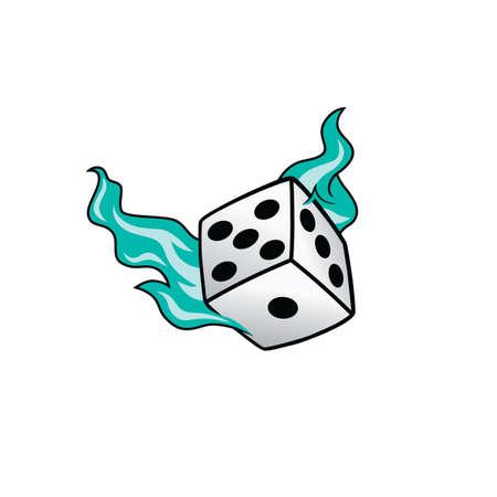 flaming on fire burning white dice risk taker gamble vector art illustration Illustration