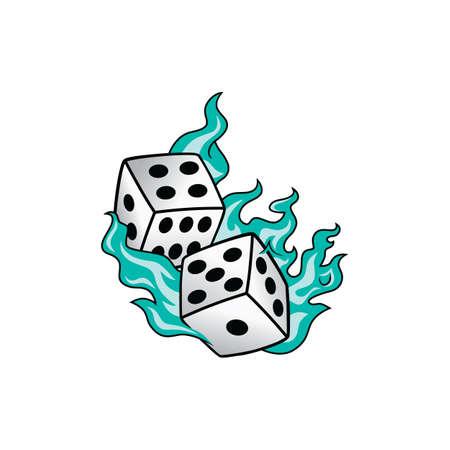 flaming on fire burning white dice risk taker gamble vector art illustration Иллюстрация