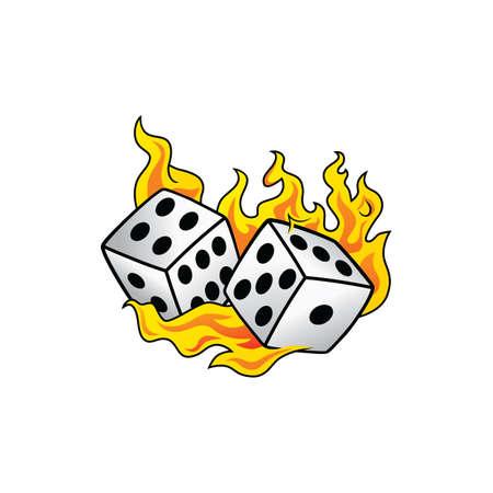 taker: flaming on fire burning white dice risk taker gamble vector art illustration Illustration