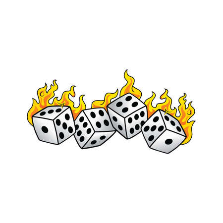 flaming on fire burning white dice risk taker gamble vector art illustration Illustration