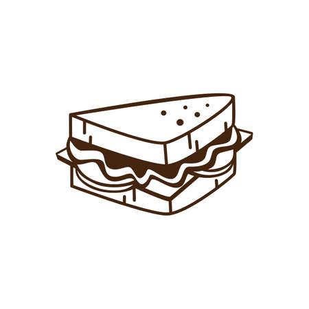 朝食漫画テーマ ベクトル芸術のためのおいしいおいしいサンドイッチ