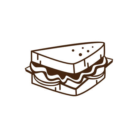delicious yummy sandwich for breakfast cartoon theme vector art