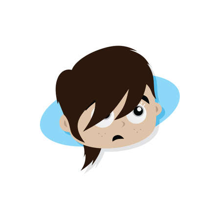 Adorable and amazing woman cartoon superhero head in classic expression vector art Illustration