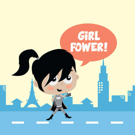 cheesy: Adorable and amazing cartoon superhero in classic pose in front of city view vector