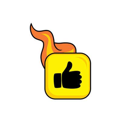 hot flame icon button theme vector art illustration
