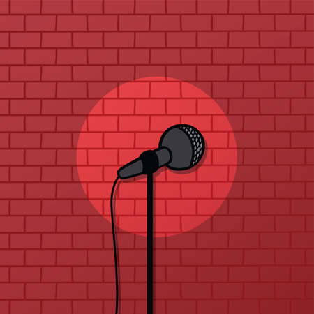 comedy: red brick spotlight stand up comedy stage vector art Illustration