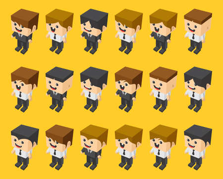 funny pictures: block isometric cartoon character vector art graphic